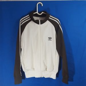 Adidas Men's White/Brown Track Jacket Sz L